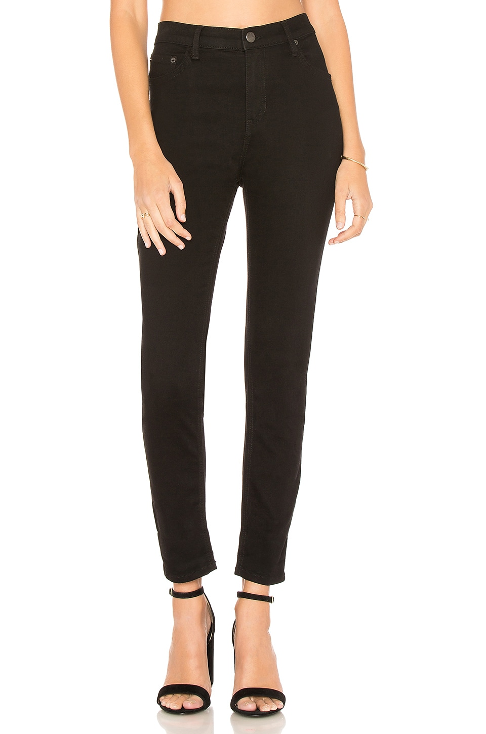 Free People High Rise Long And Lean Jean in Black