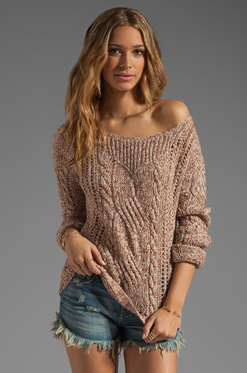 Free People Pegasus Yarn West End Pullover in Strawberry Combo