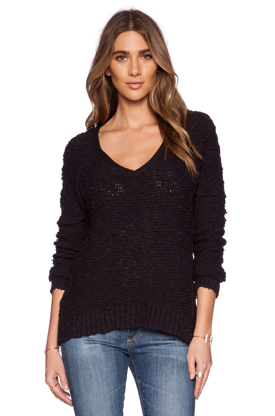 Free People Shaggy Bear Songbird Pullover in Black