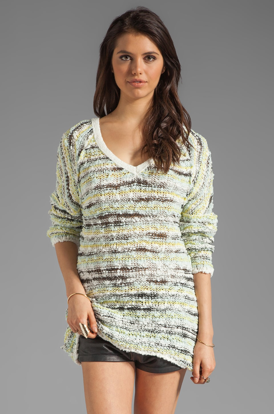 Free People Marled Songbird Pullover in Ivory Combo