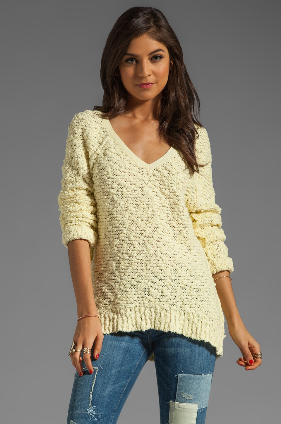 Free People Shaggy Bear Songbird Pullover in Lemon