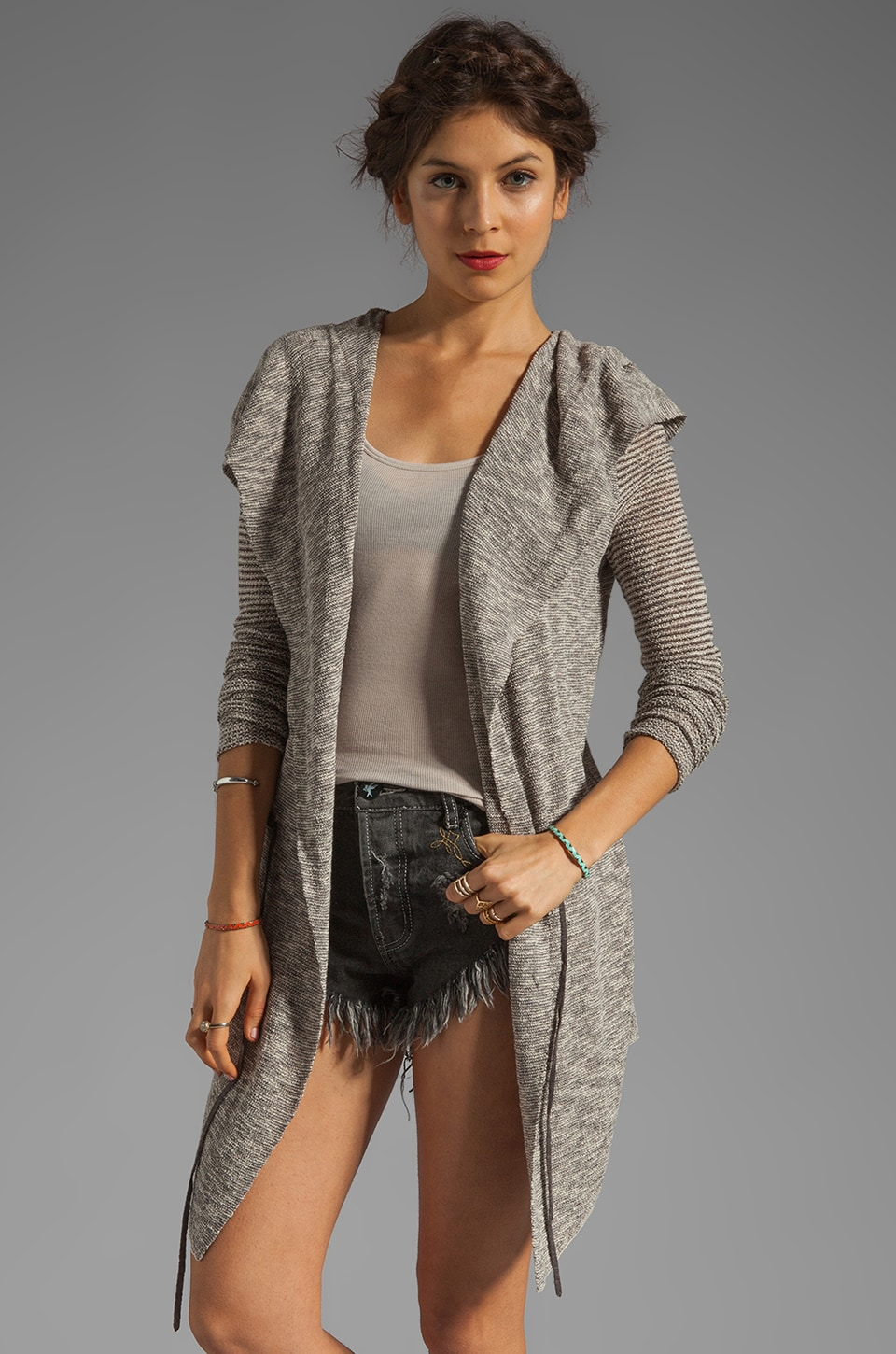 Free People For Keeps Cardi in Salt & Pepper Combo