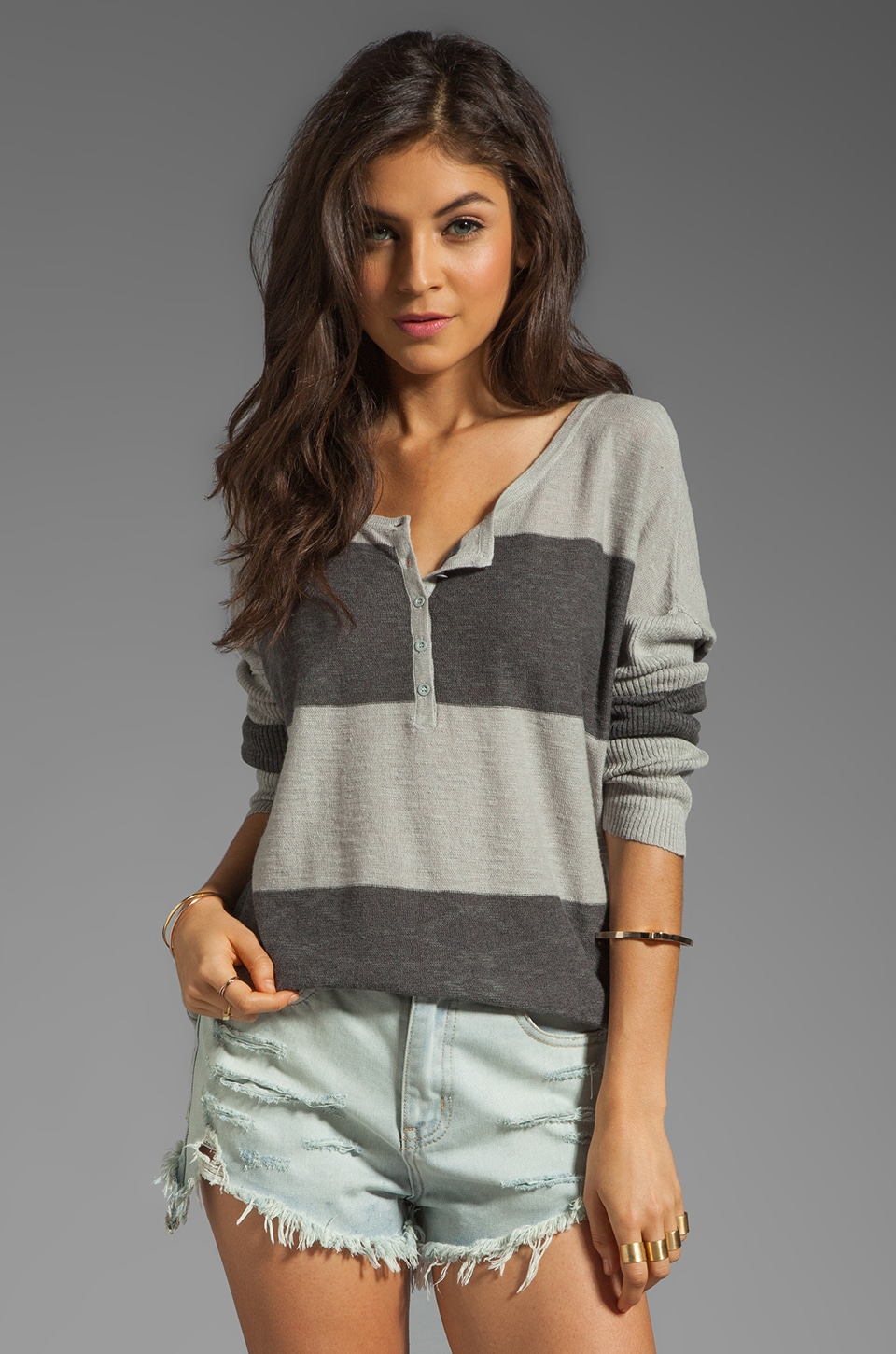 Free People Gold Rush Henley Sweater in Charcoal Combo