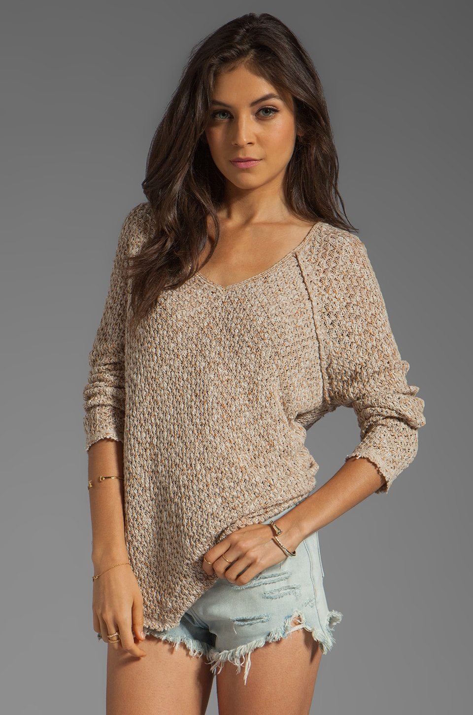 Free People Poppyseed Pullover in Oatmeal/Amber Combo