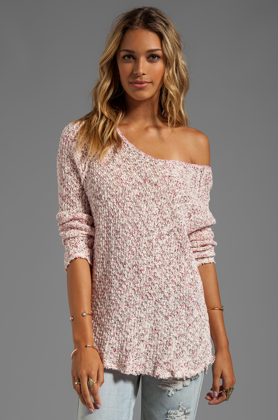 Free People Poppyseed Pullover in Ivory/Pink Combo