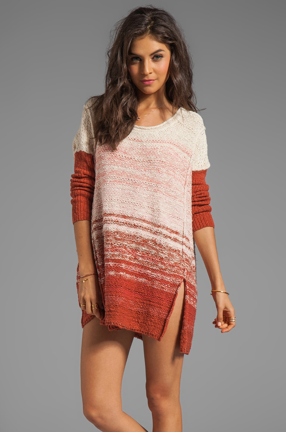 Free People Side Split Pullover Dress in Cream Rust Combo