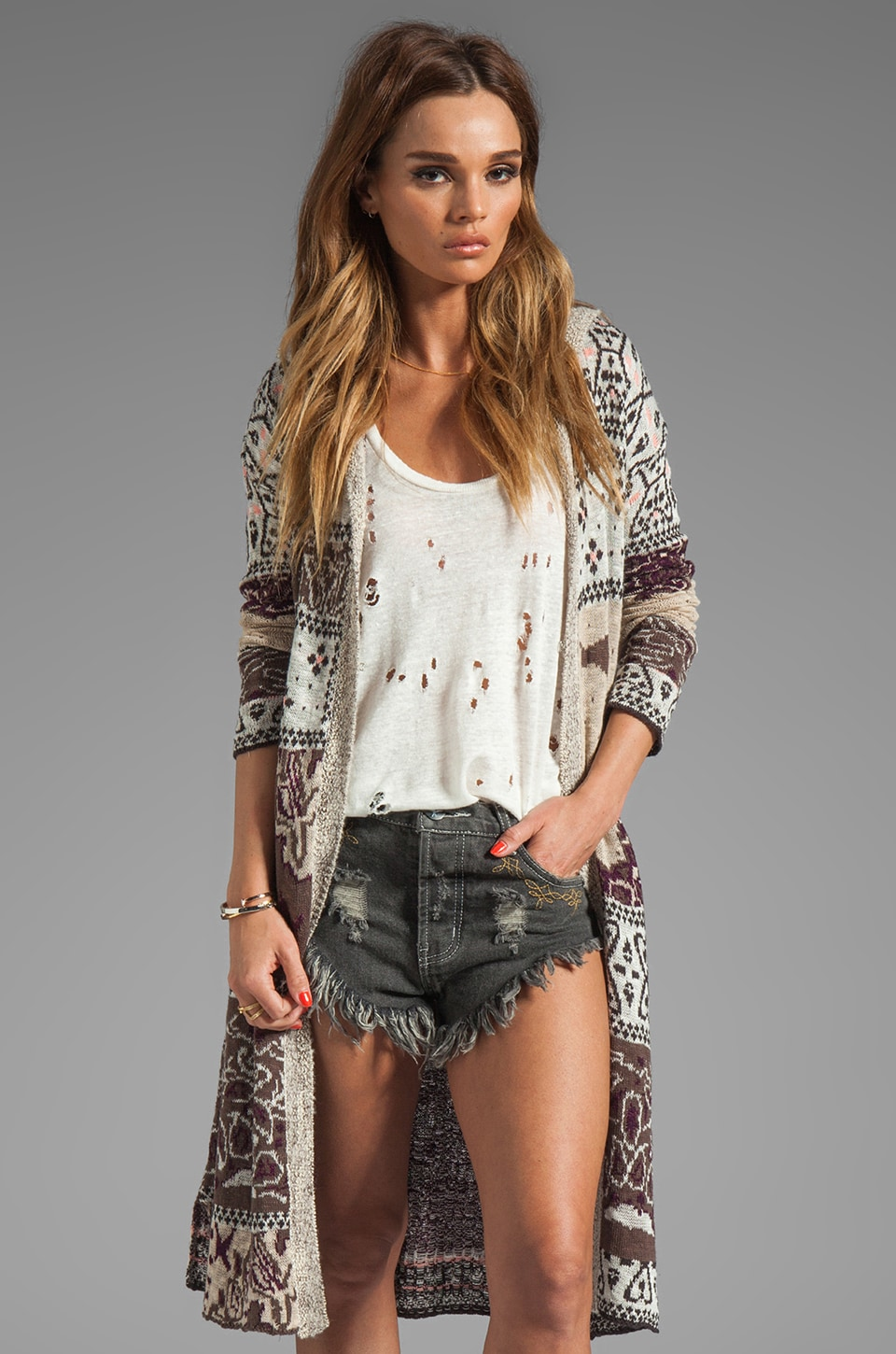 Free People Bandana Cardi in Natural Combo