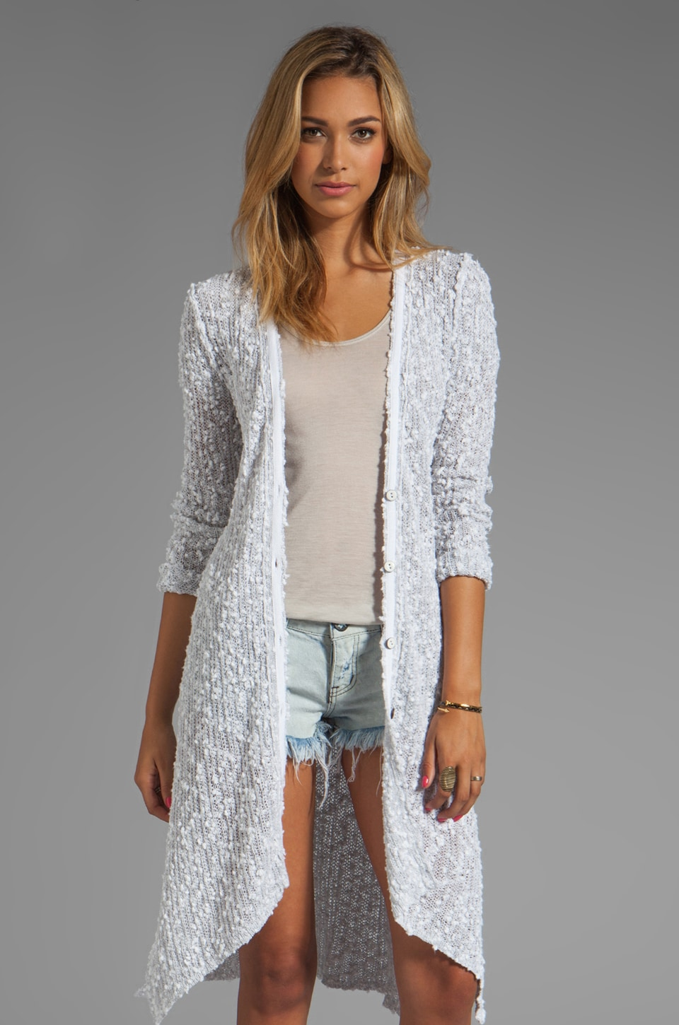 Free People Boxer Cardi in White