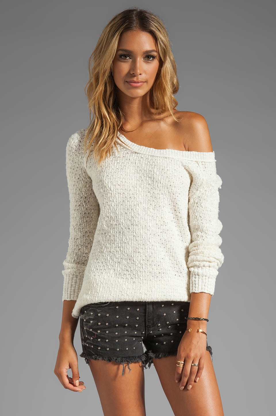 Free People Jeepster Pullover in Ivory/Snow Combo