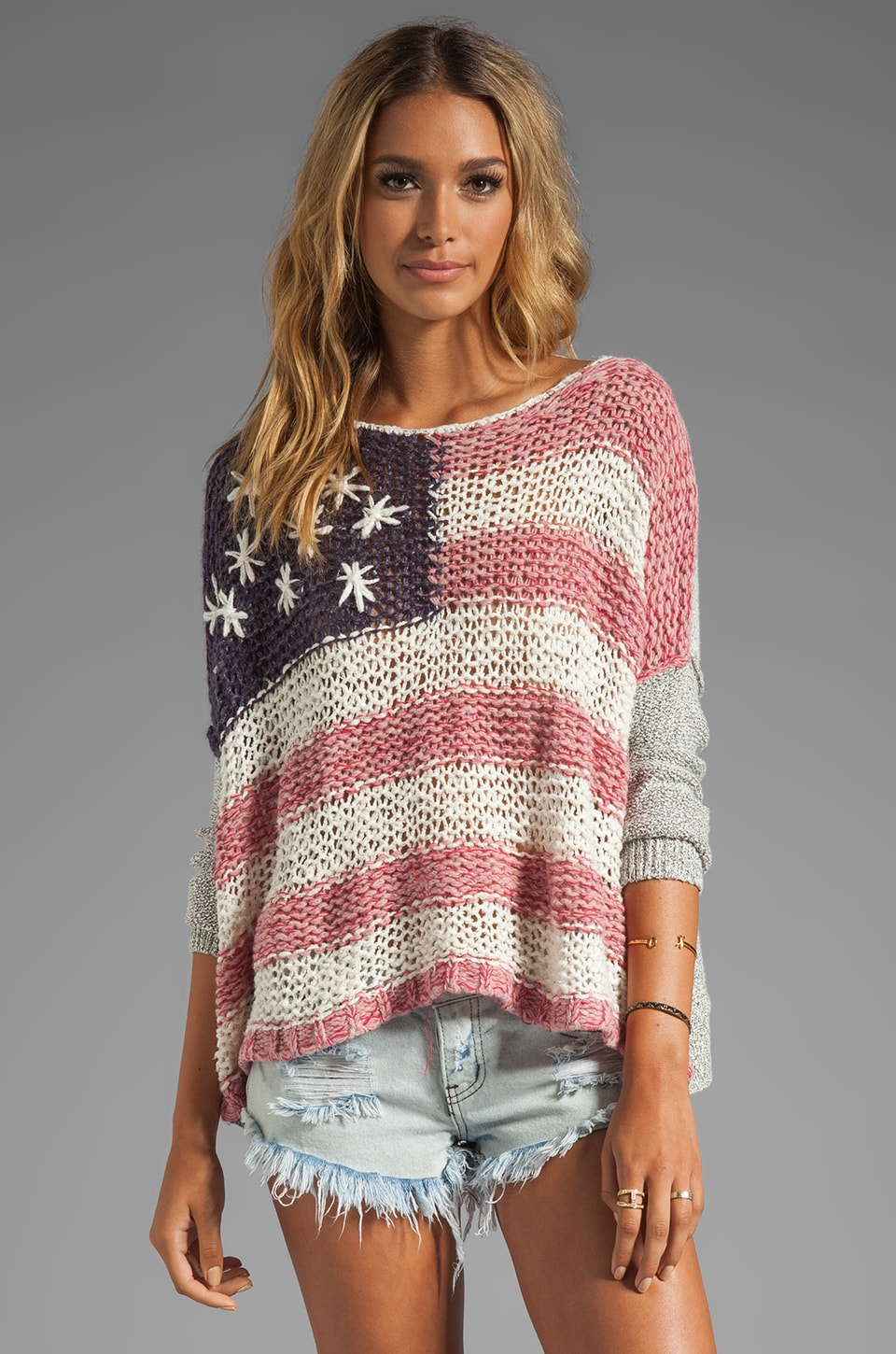 Free People Flag Sweater in Red/White/Blue