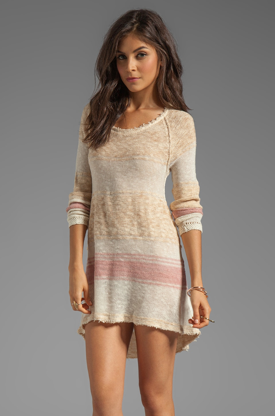 Free People Block of Stripes Pullover in Caramel Combo