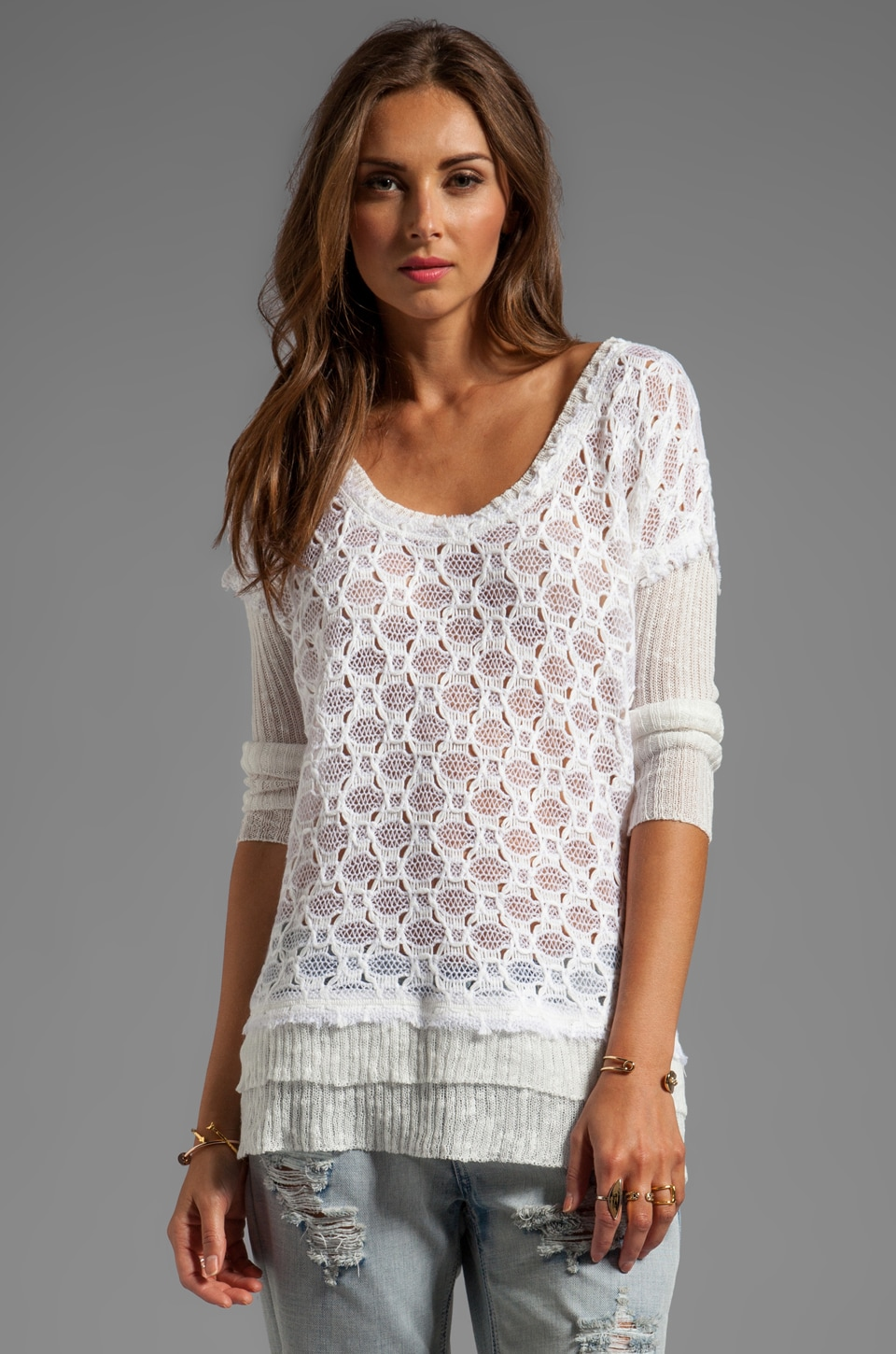 Free People Boxy Textured Sweater in White