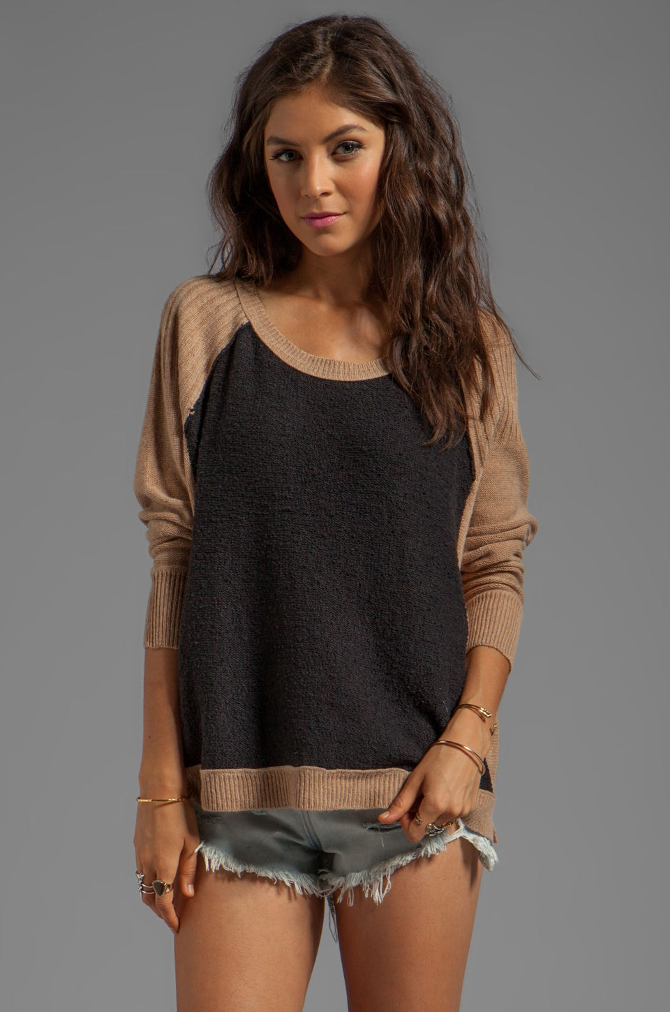 Free People Tabbard Pullover Sweater in Black/Camel Combo