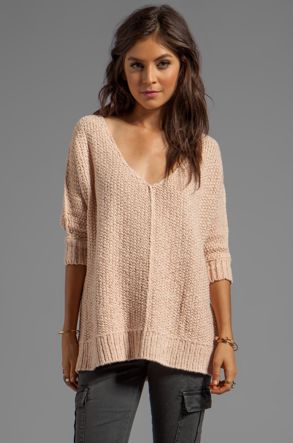 Free People Cozy Cat Pullover in Champagne