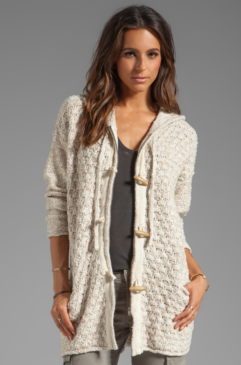 Free People Turn up the Sun Toggle Coat in Oatmeal