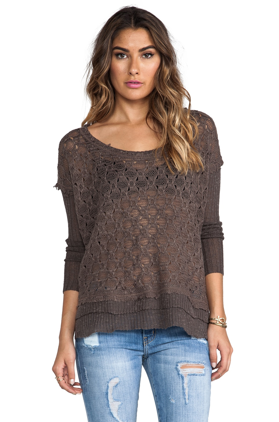 Free People Boxy Textured Sweater in Coal