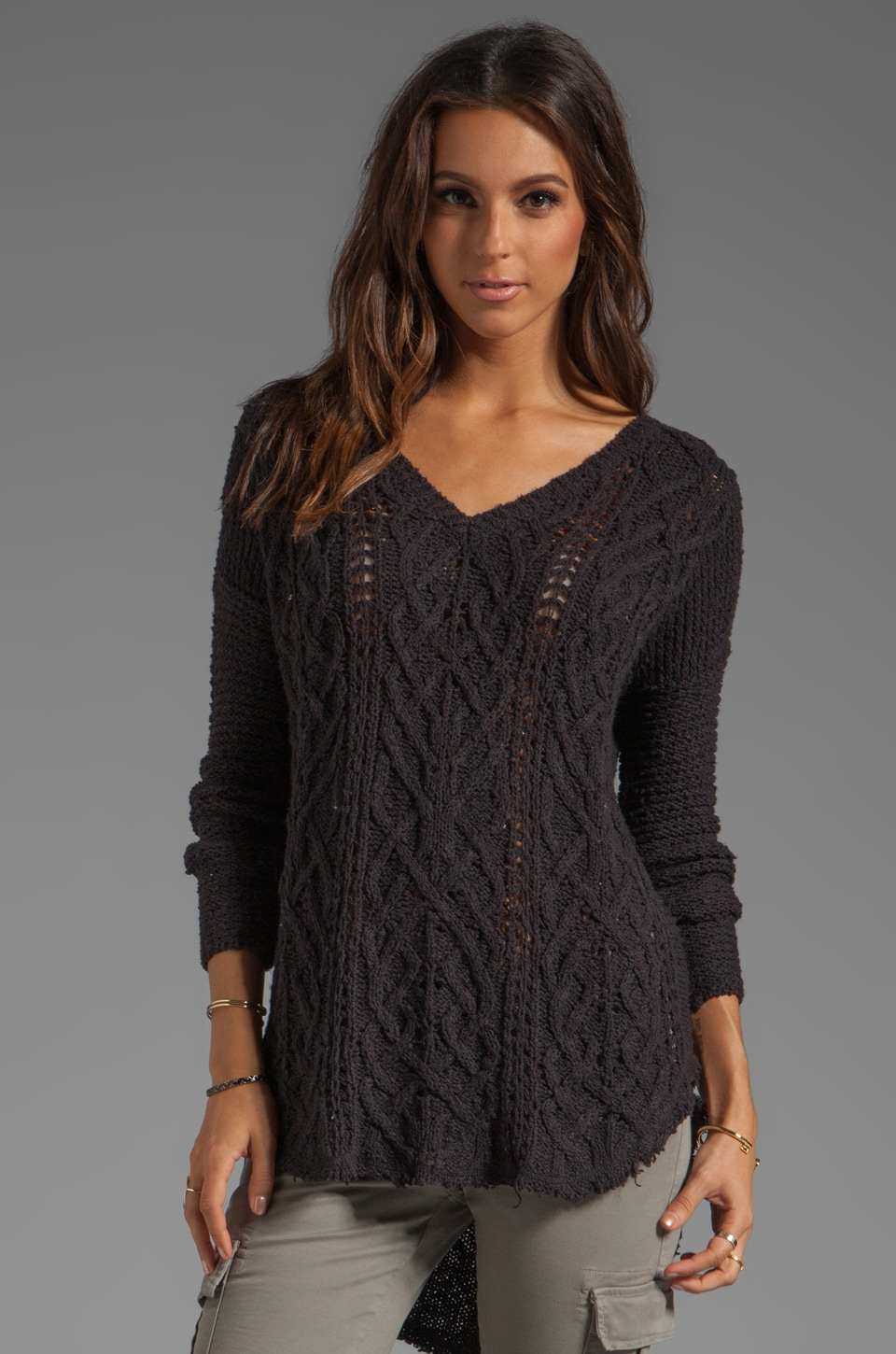 Free People Cross My Heart Sweater in Black