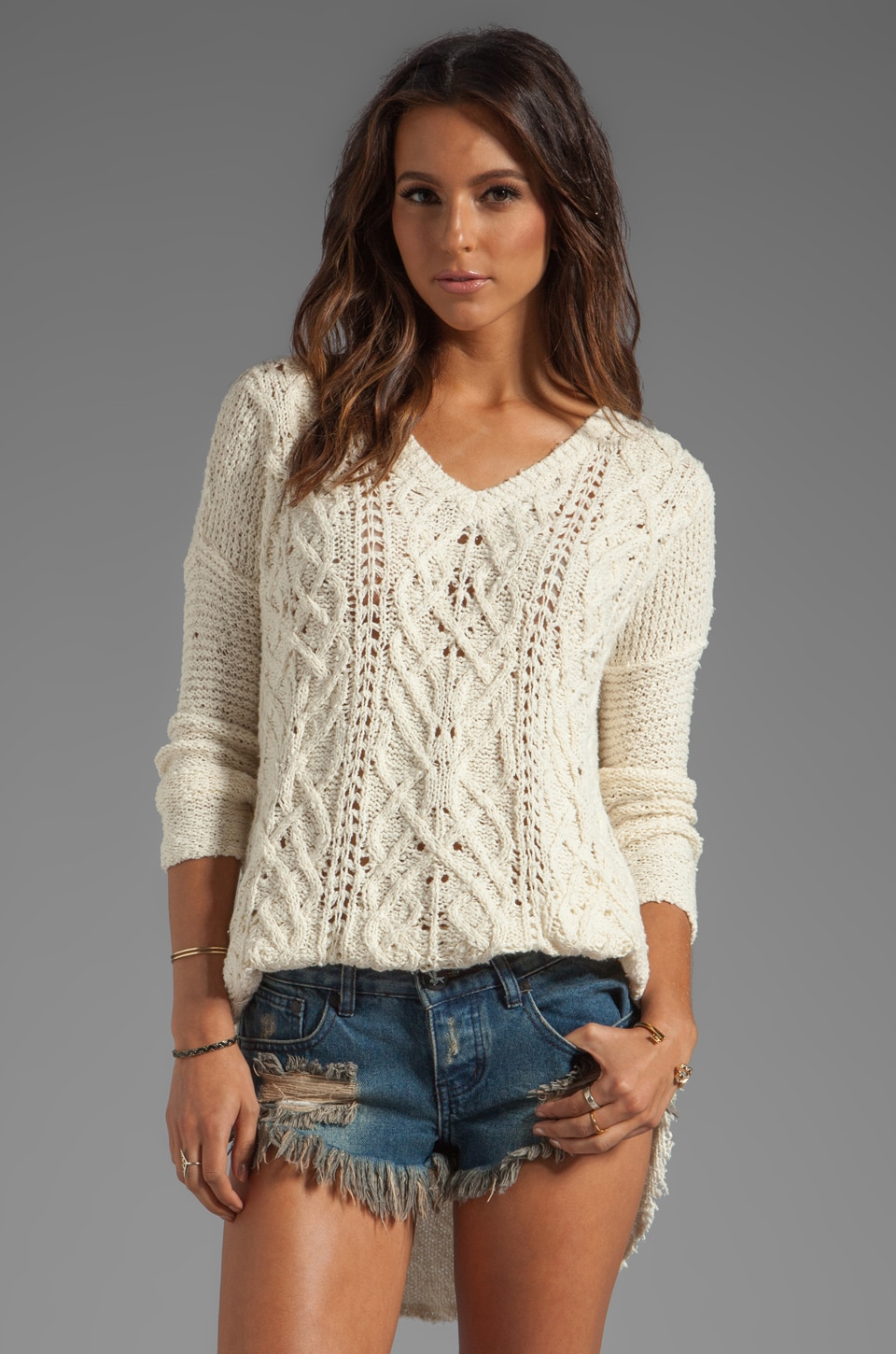 Free People Cross My Heart Sweater in Ivory