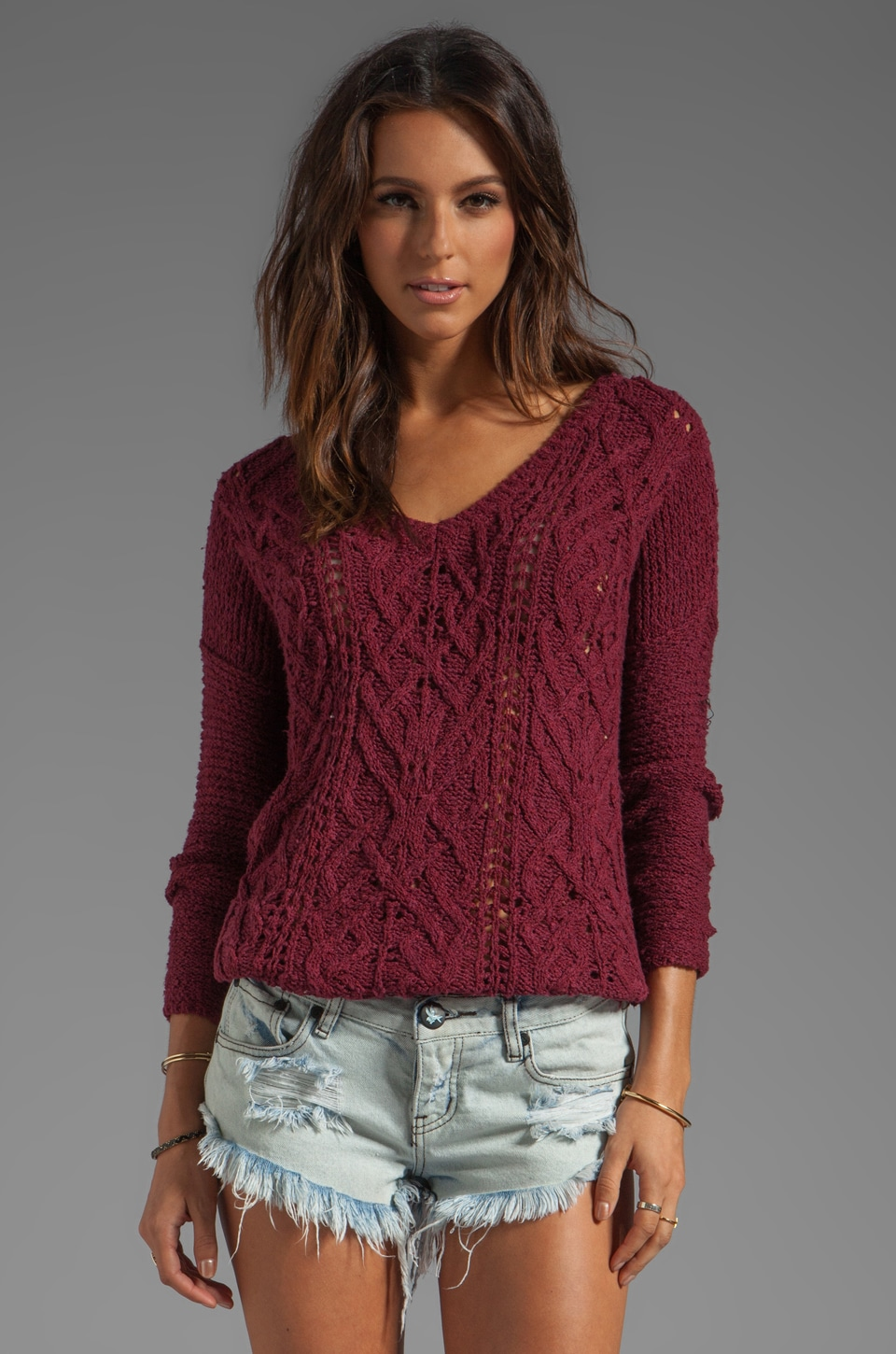Free People Cross My Heart Sweater in Wine