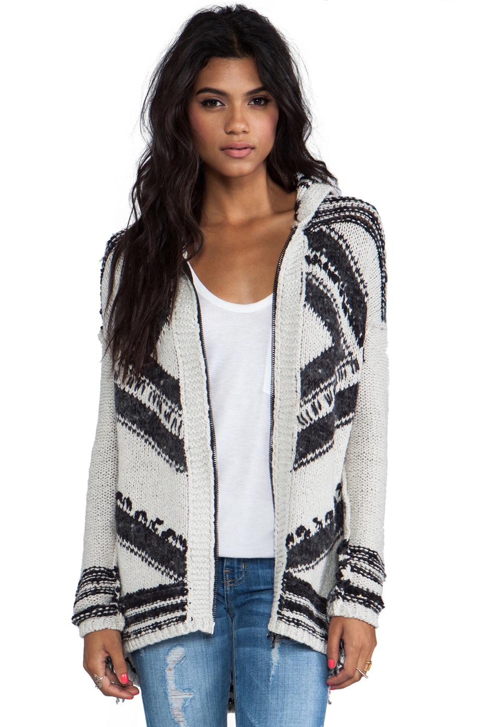 Free People Show Me the Way Fringe Cardigan in Black/White
