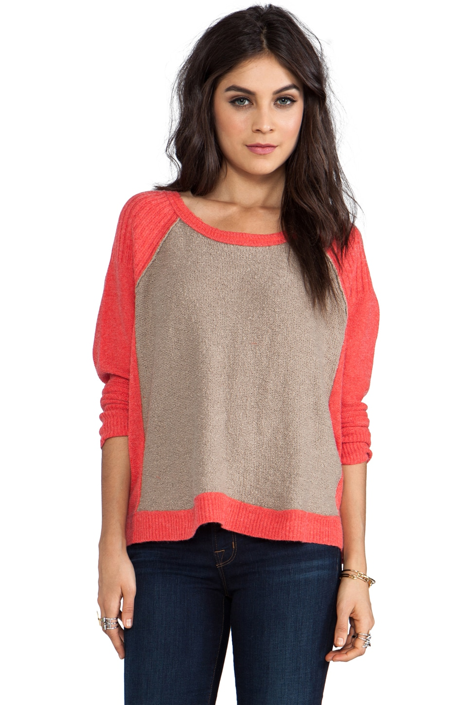 Free People Tabbard Pullover in Cherry/Taupe