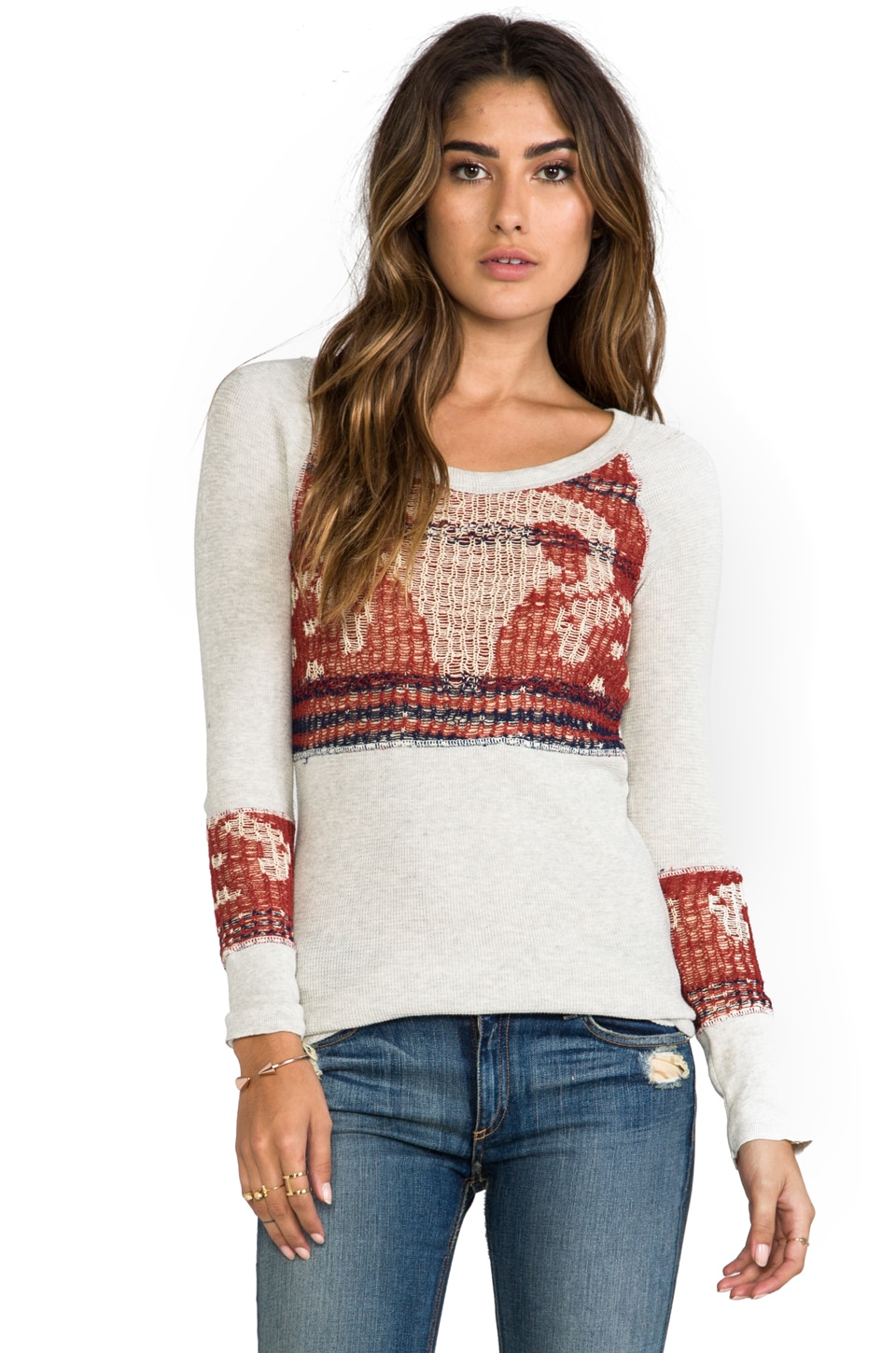 Free People Bambi Swit Long Sleeve in Rust Combo