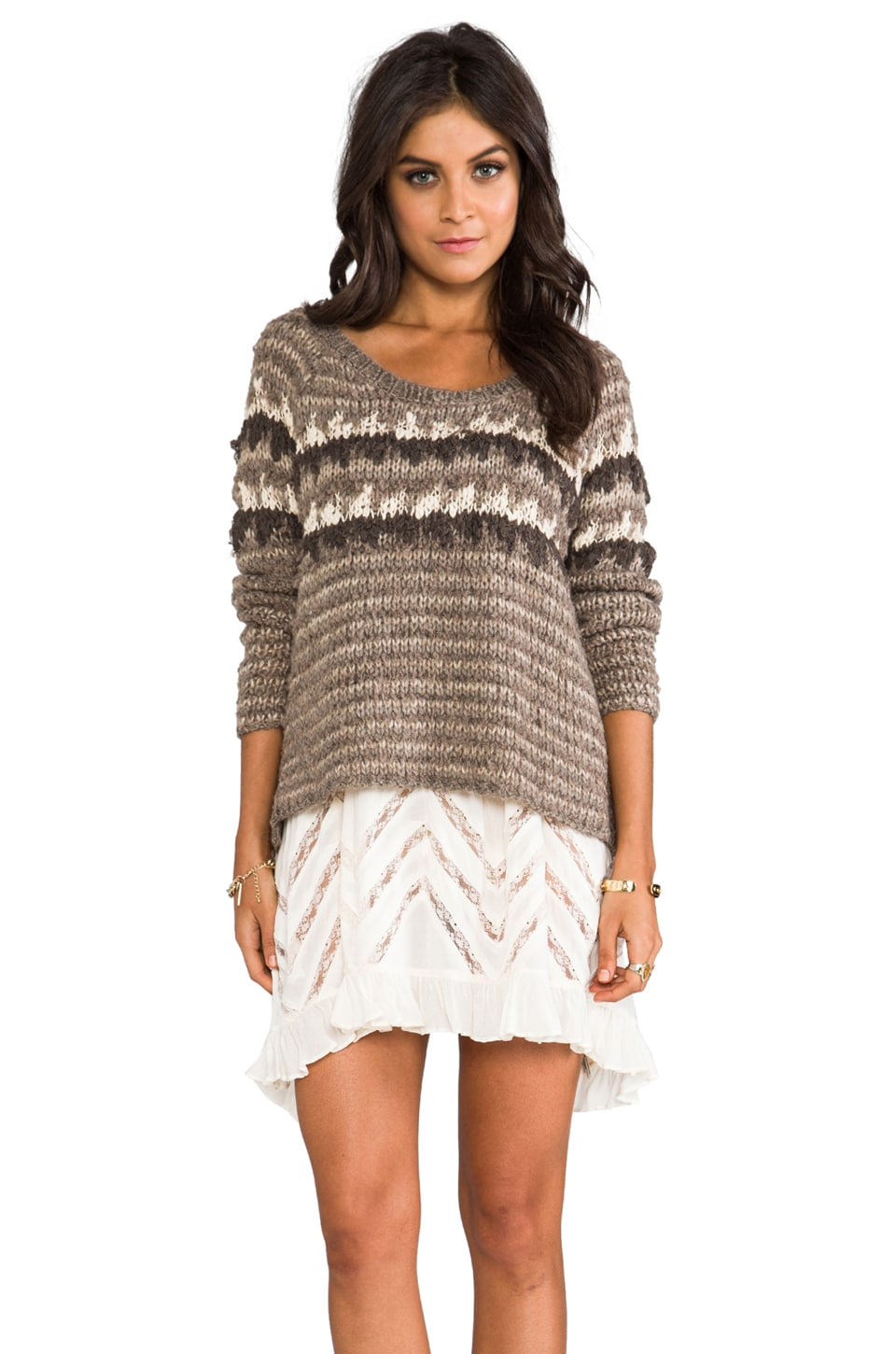 Free People Fuzzy Fair Isle Pullover in Barn Owl