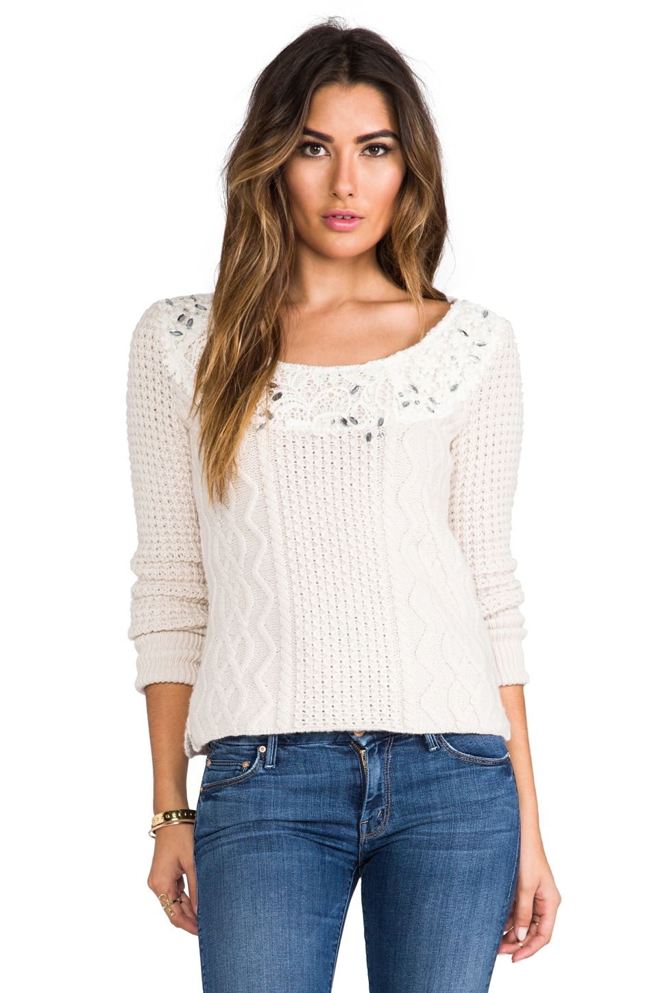 Free People Aurora Yarn Winter Sparkle Pullover in Natural