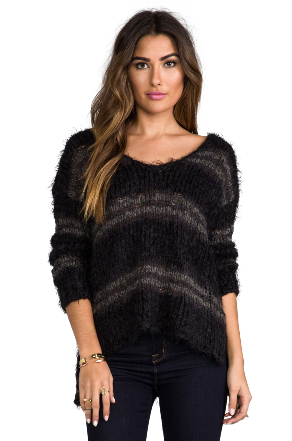 Free People Linus Stripe Pullover in Washed Black