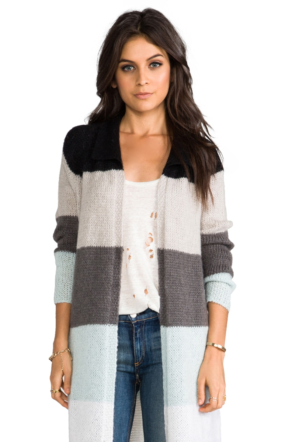 Free People Over The Rainbow Cardigan in Neutral Combo