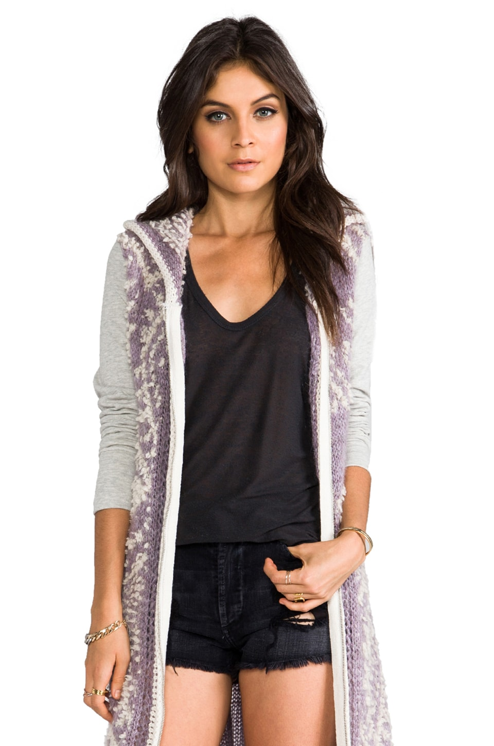 Free People White Moon Cardi en Lilas