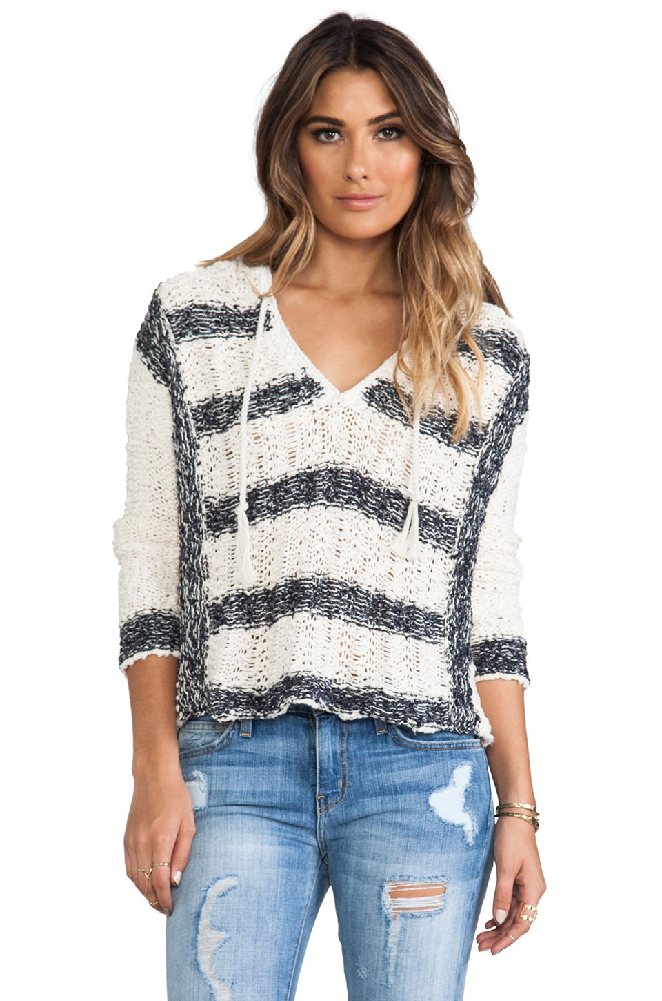 Free People Cali Love Sweater in Ivory Combo