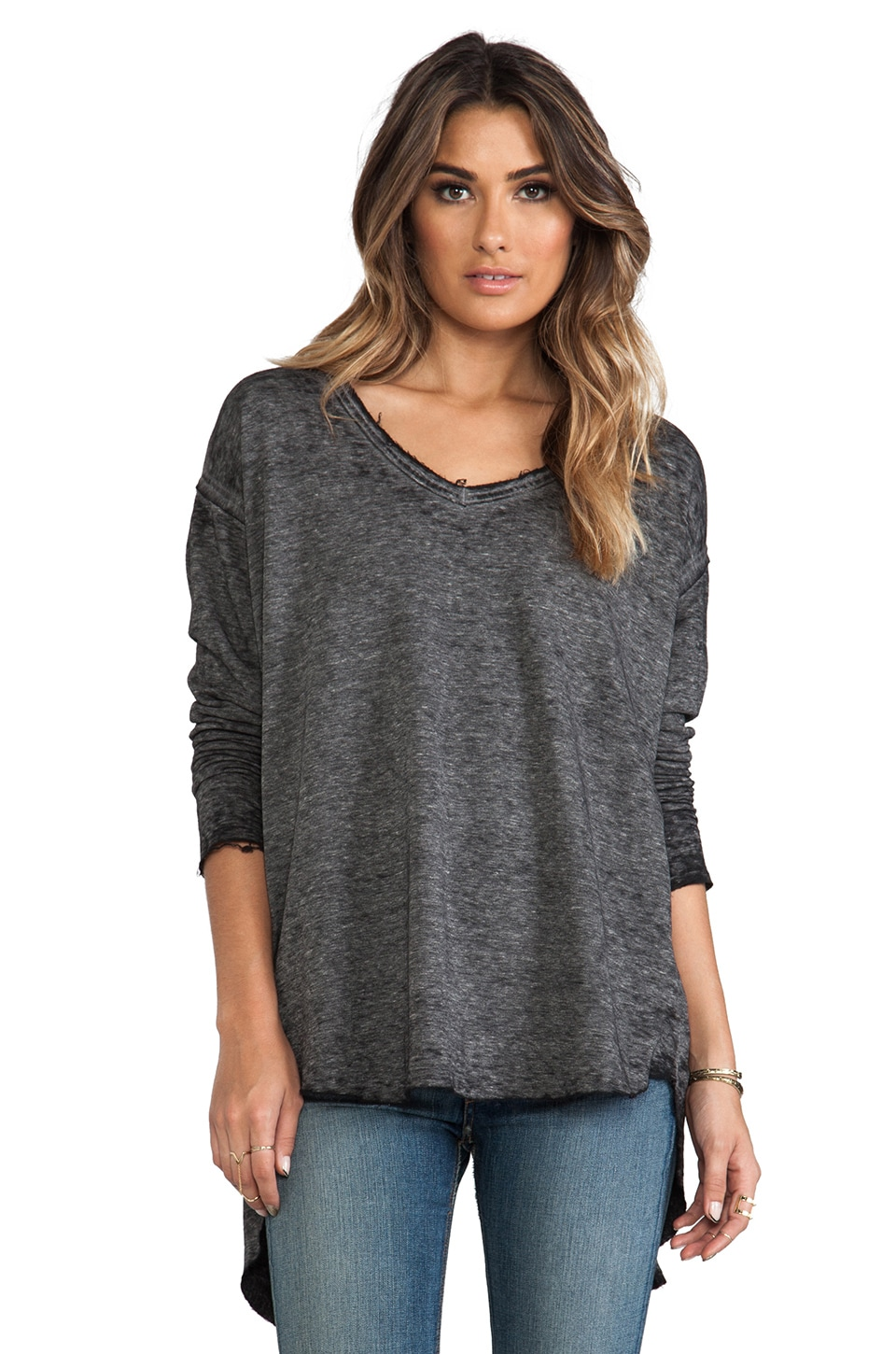 Free People Keep Up Pullover in Gunmetal