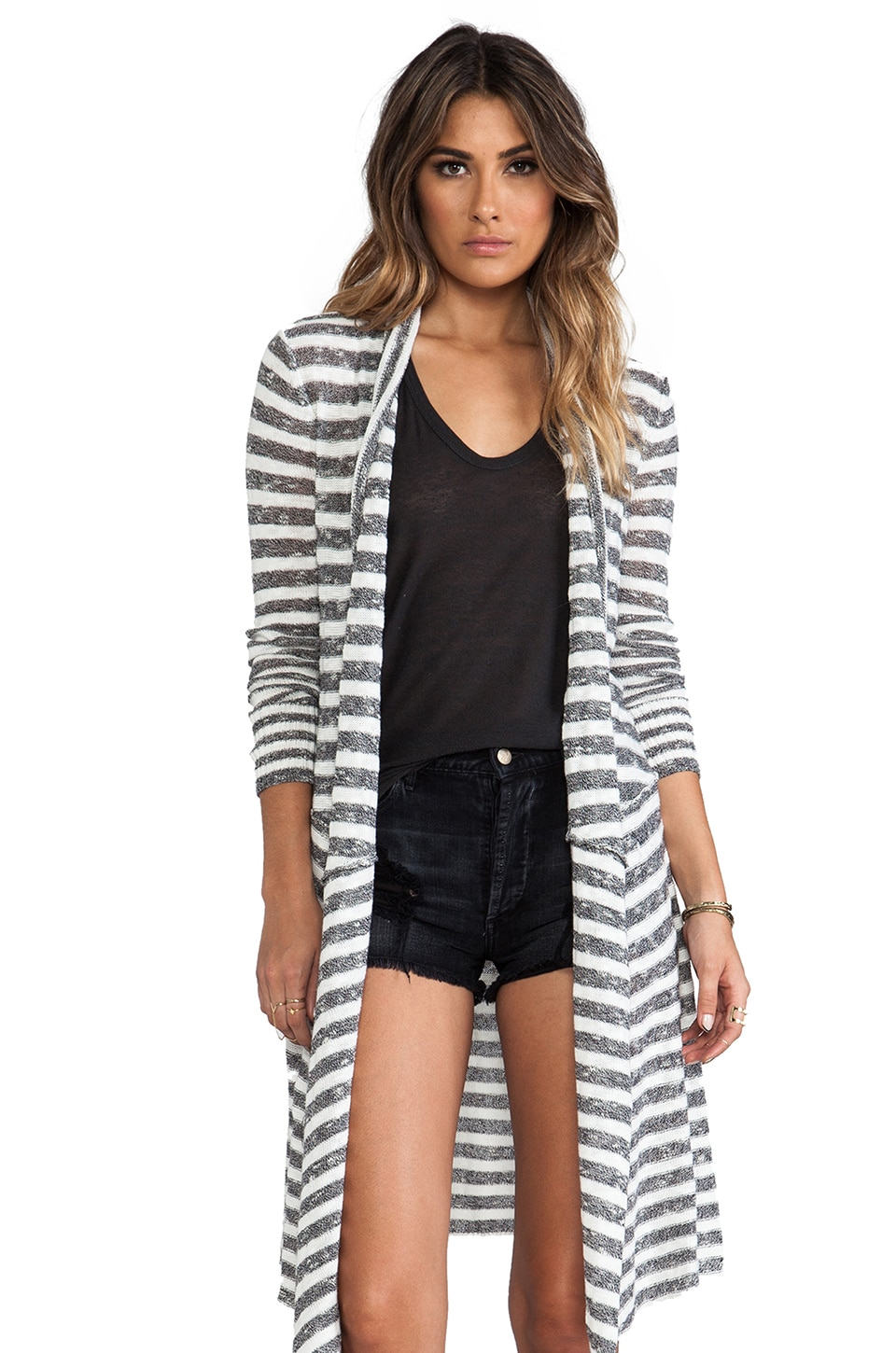 Free People Forget Me Not Stripe Cardigan in White & Black Combo