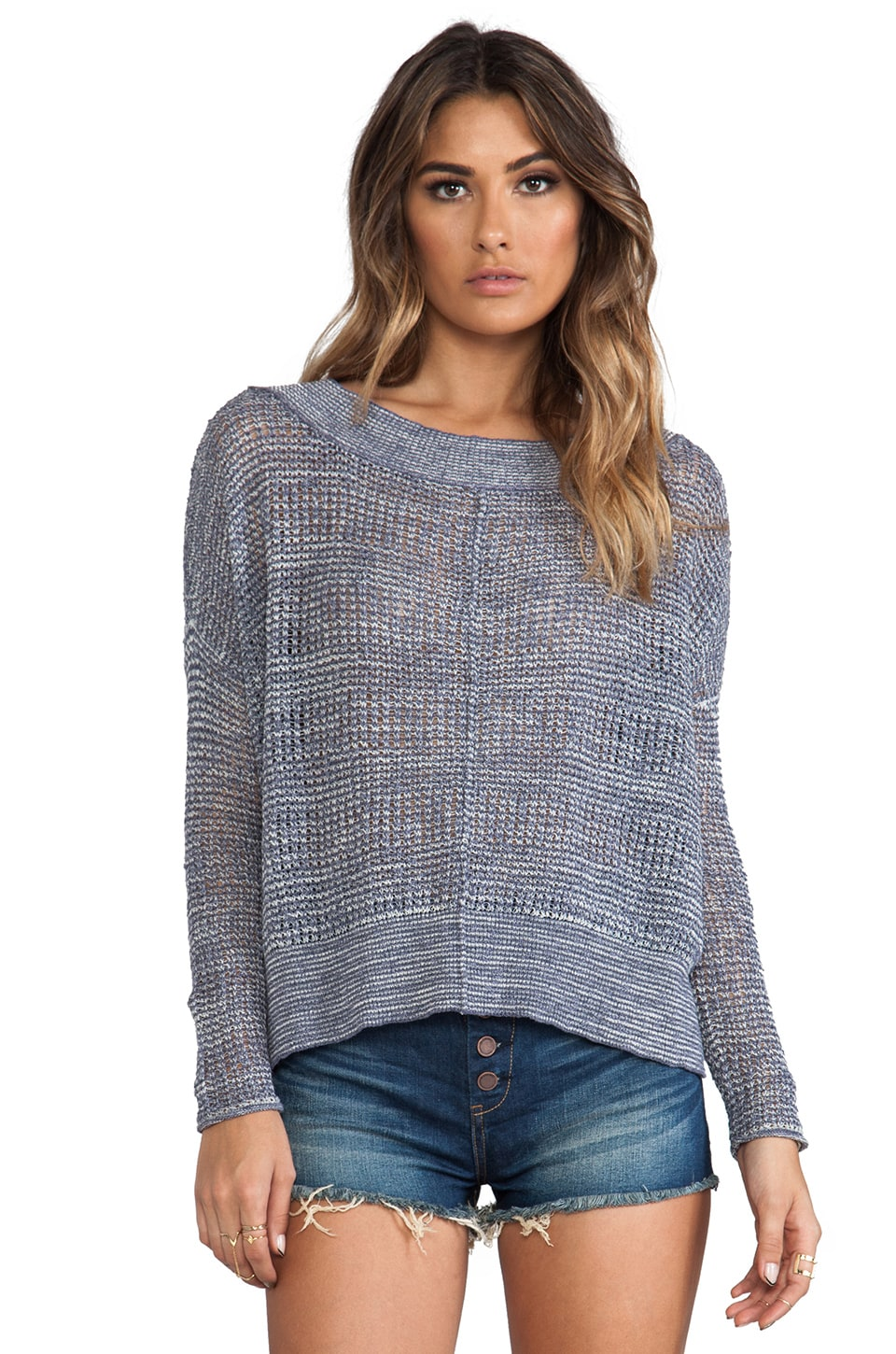 Free People These Days Fine Gauge Pullover in Denim Combo