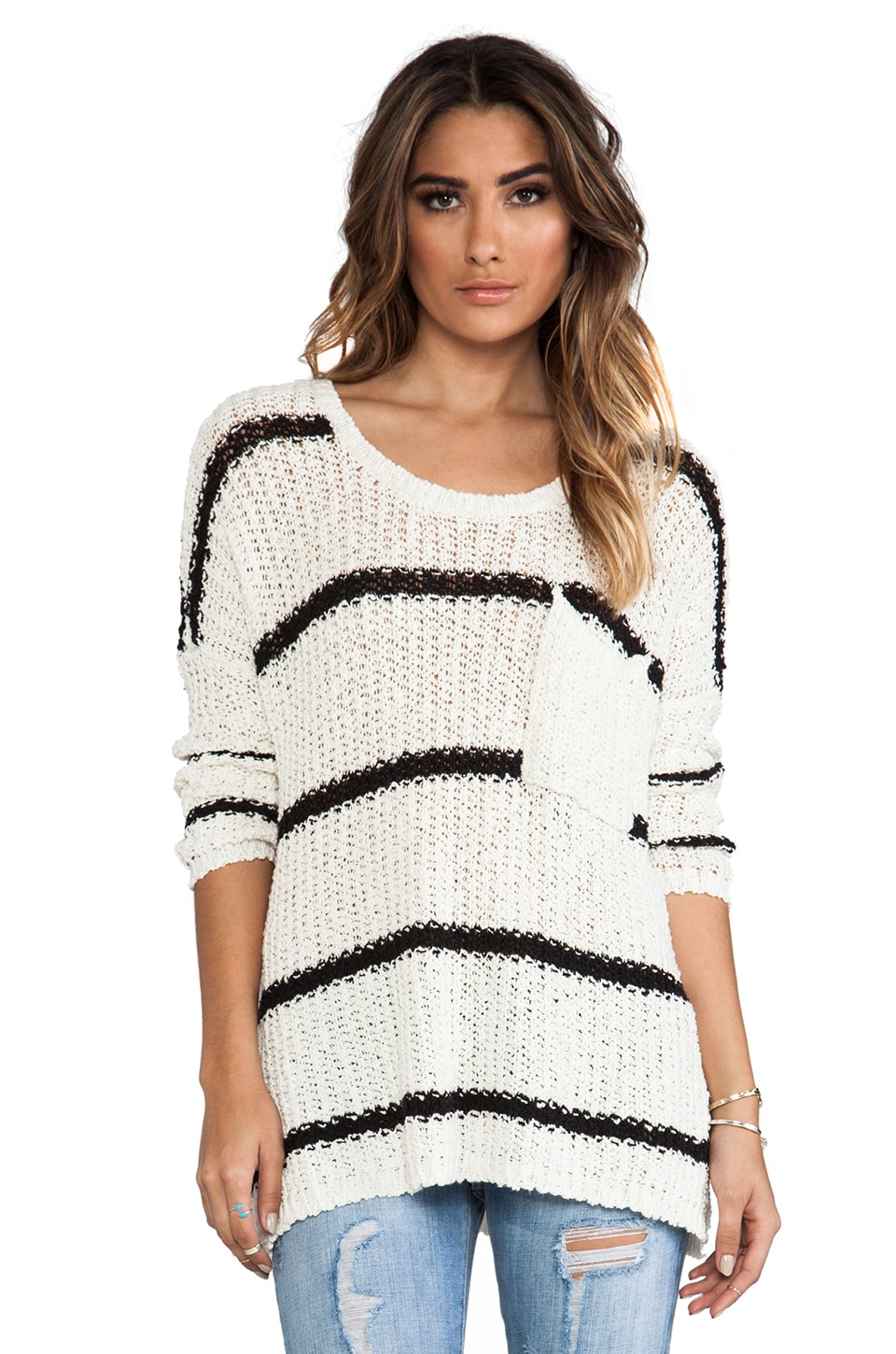 Free People Greenwich Village Pullover in Ivory Combo