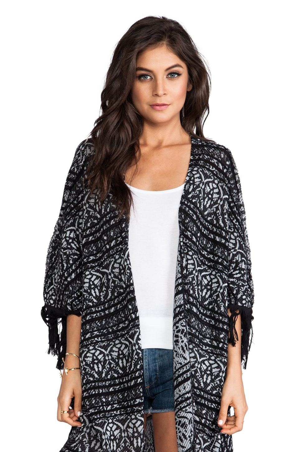 Free People Patterned Kimono Cardigan in Black Combo
