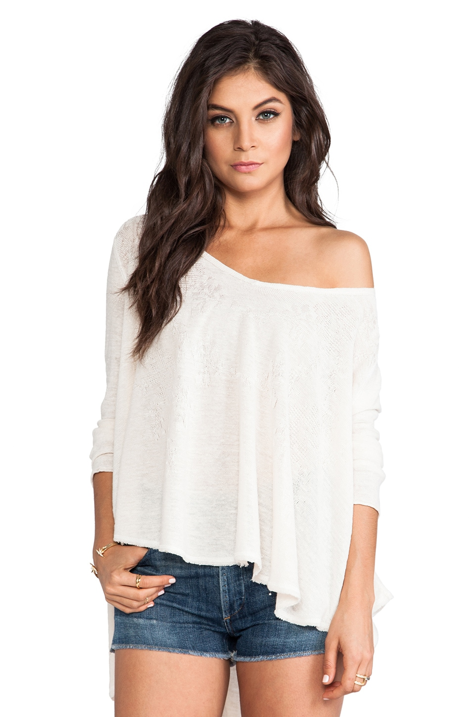 Free People Azaelea Circle Sweater in Pearl