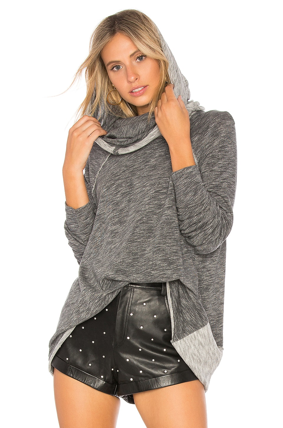 Free People Beach Cocoon Cowl Pullover in Charcoal