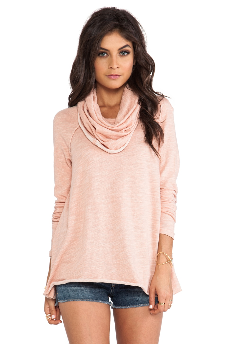 Free People Beach Cocoon Cowl Pullover in Pink Sand