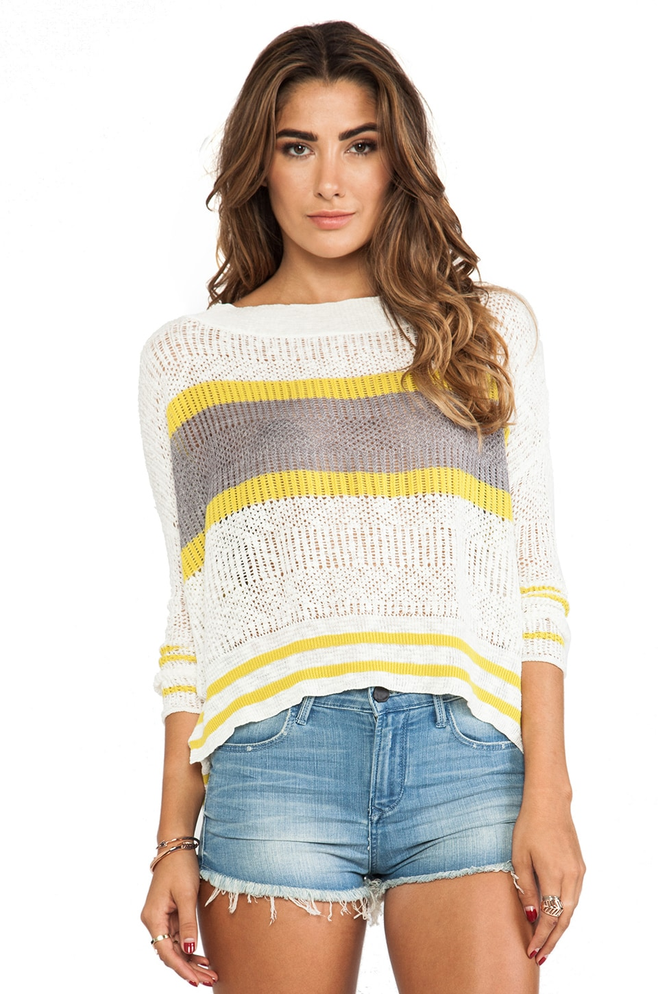 Free People Stripe Pullover in Ivory Combo