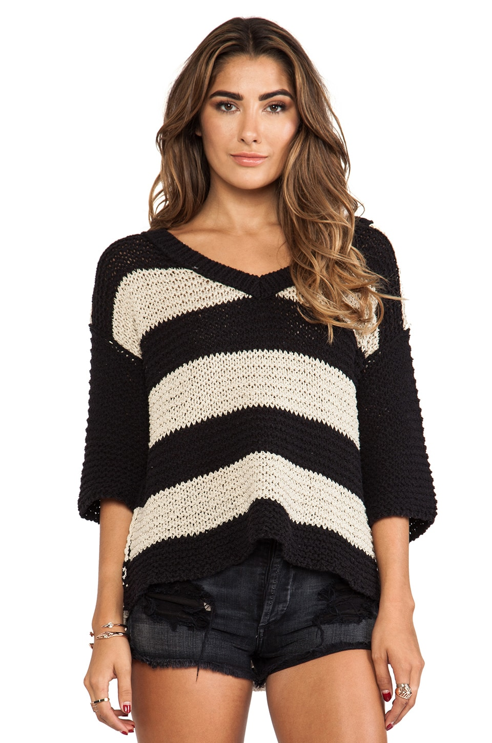 Free People Park Slope Stripe Sweater in Black & Hemp Combo