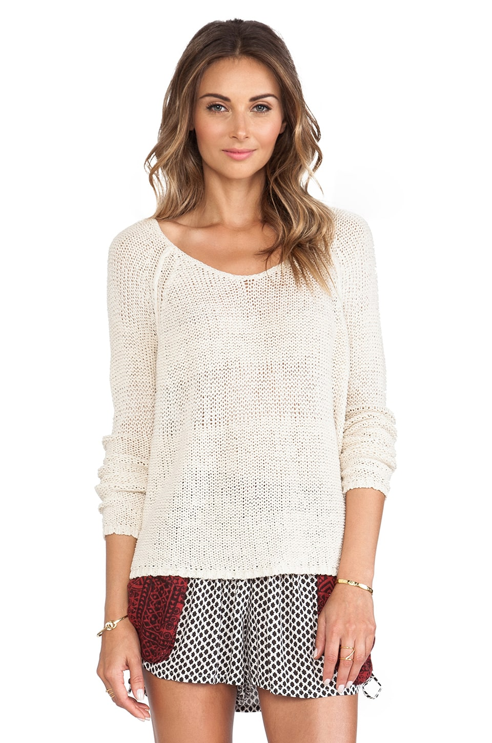 Free People Nickles and Dimes Pullover in Ivory