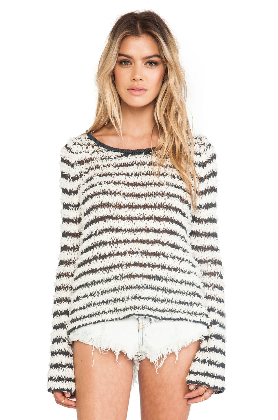 Free People Downy Stripe Pullover in Ivory Combo