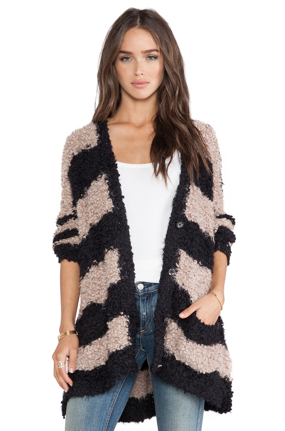 Free People Marshmallow Cardigan in Black & Taupe Combo