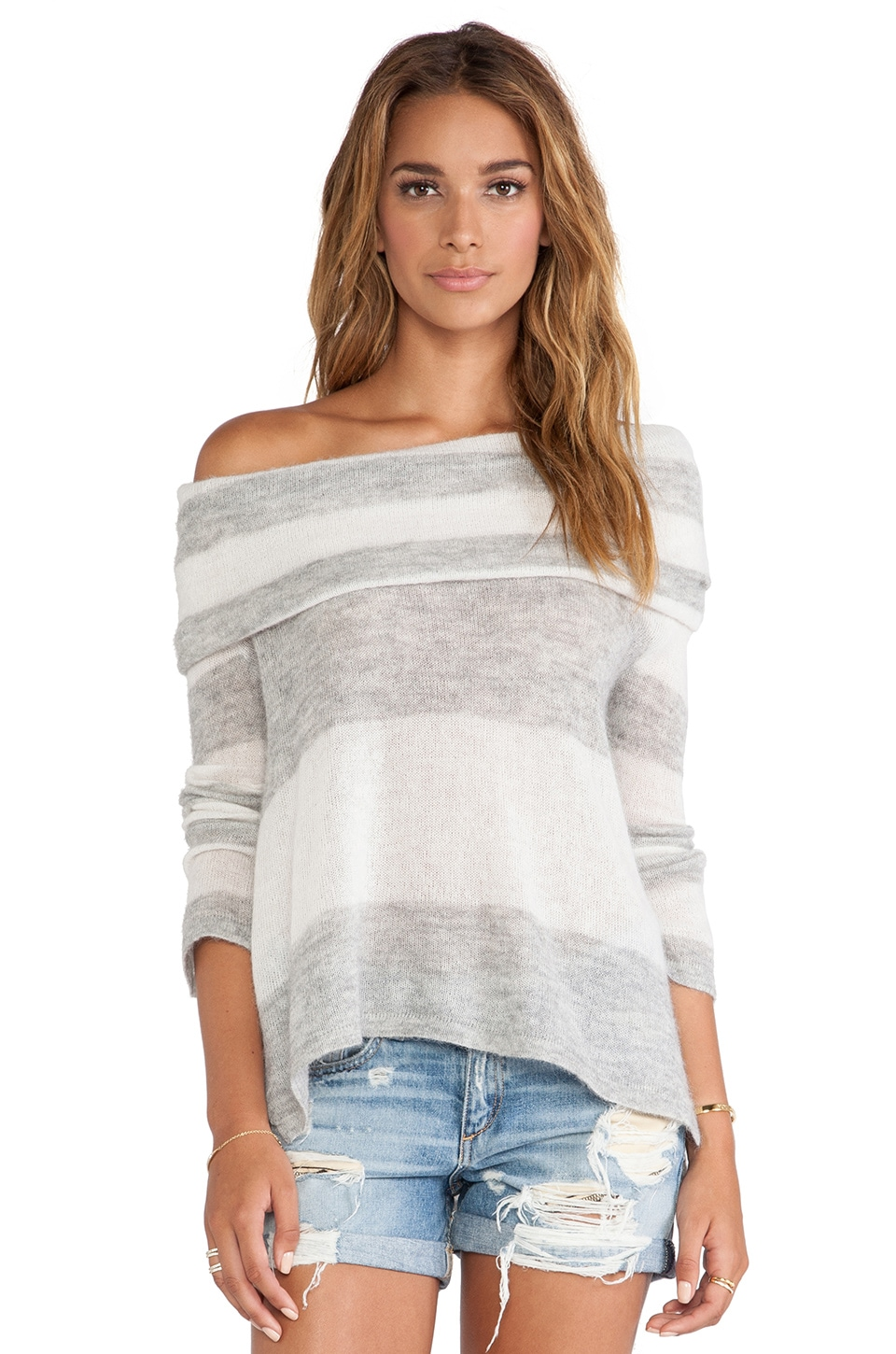Free People Lulu Rugby Stripe Cowl Sweater in Ivory & Grey Combo