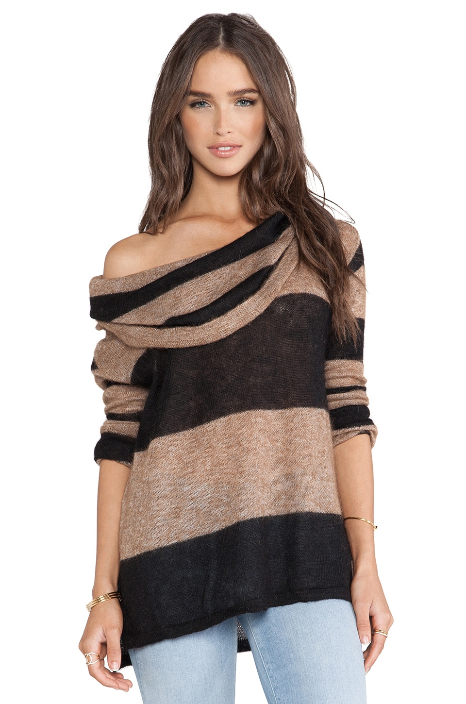 Free People Lulu Rugby Stripe Cowl Sweater in Taupe & Black Combo