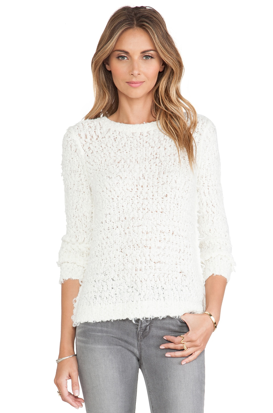Free People September Song Pullover in Ivory