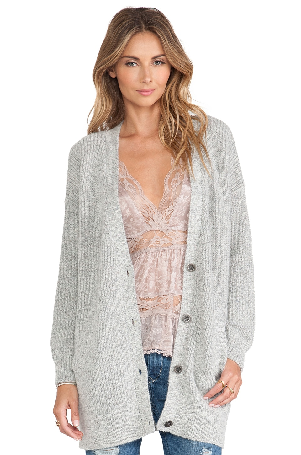 Free People Cloudy Day Cardigan in Light Multi Combo
