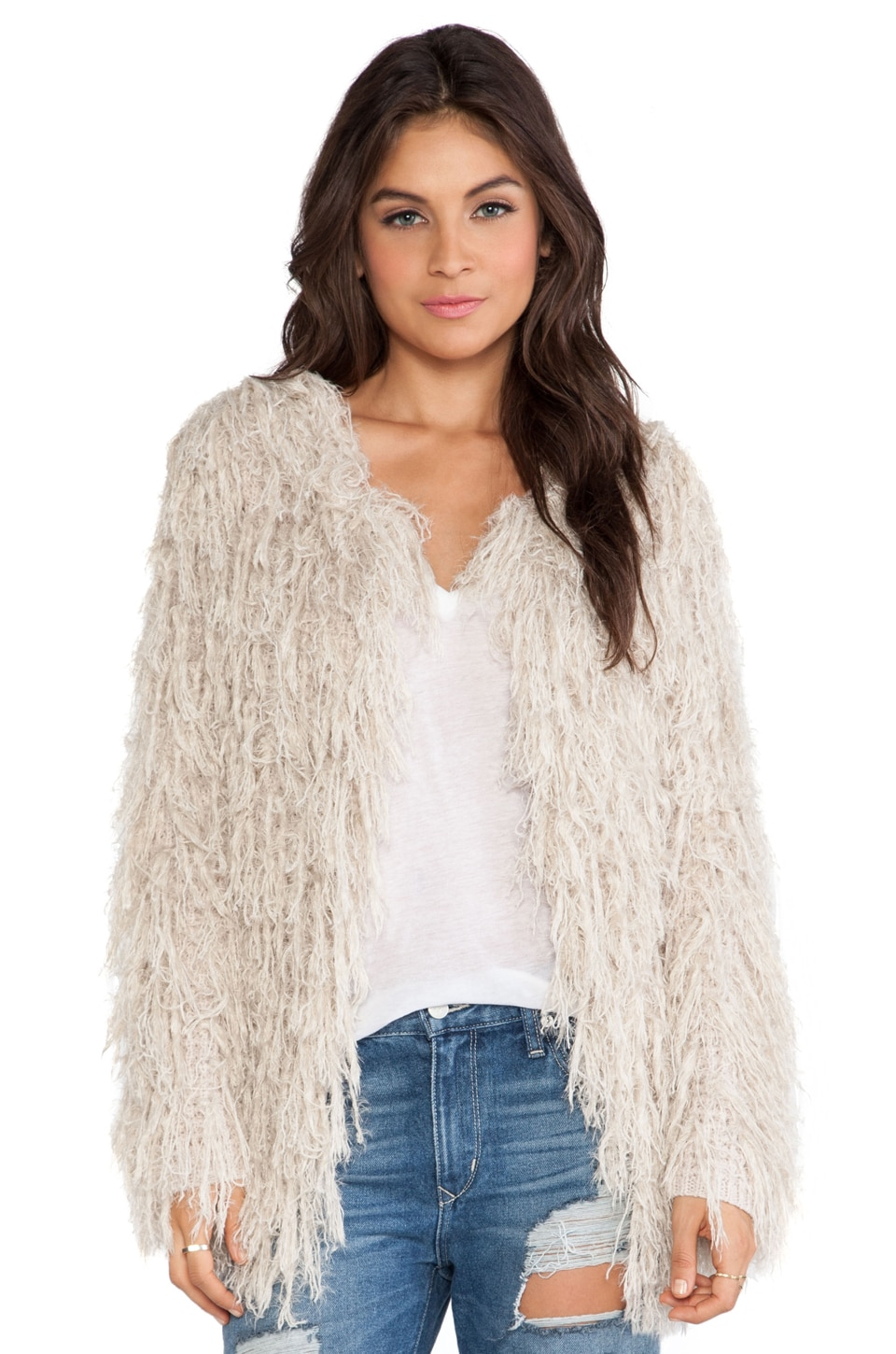 Free People Faithful Shaggy Cardigan in Sand